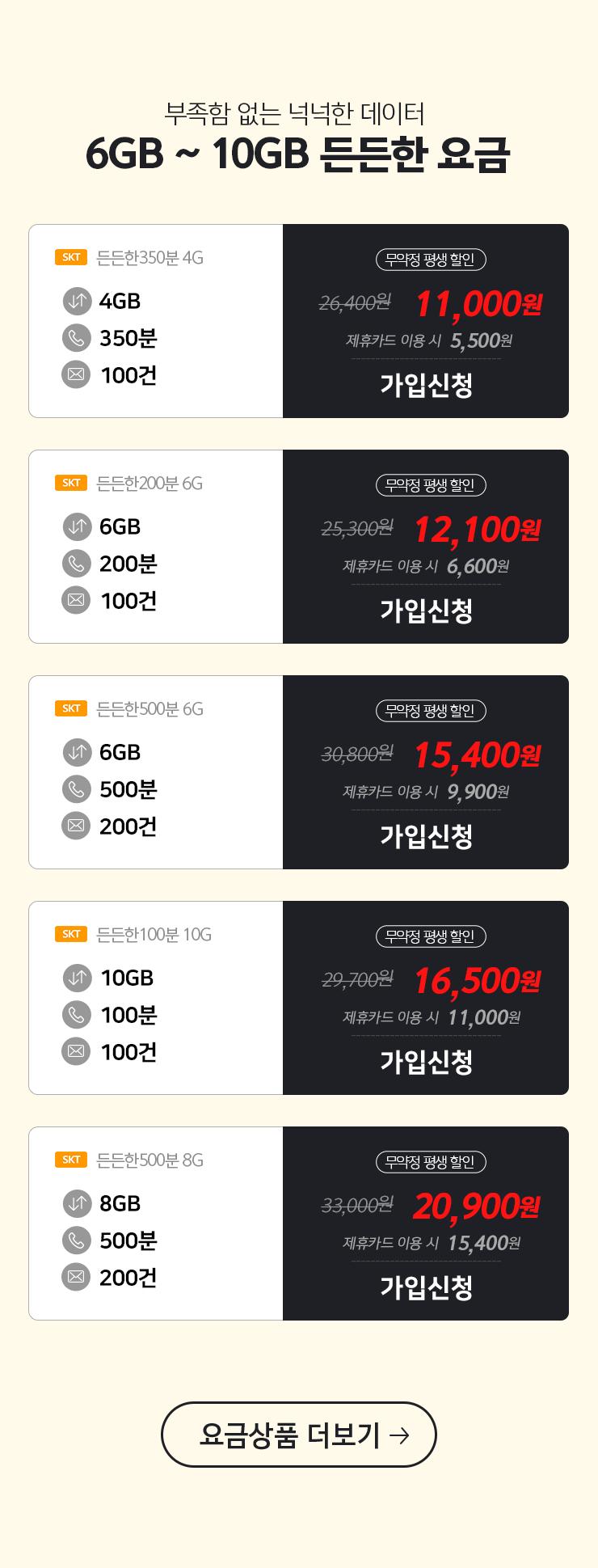 5GB~10GB든든한요금